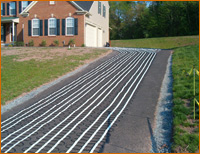Snow melting mats laid out to heat asphalt driveway