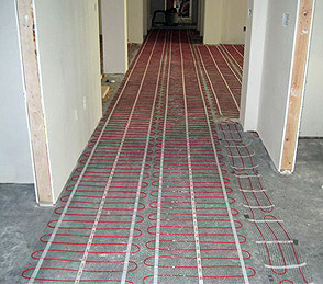 Radiant Floor Heating Mats Being Installed