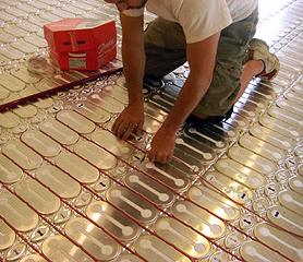 HeatShield floor heating system being installed