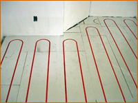 Hydronic floor heating system being installed