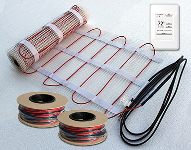 ComfortTile floor heating mat, cable and thermostat