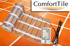 ComfortTile floor heating mat and thermostat
