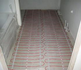 Exceptional Radiant Heated Floor Being Installed In Bathroom