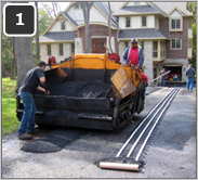 Retrofitting asphalt driveway with heated tire tracks-1