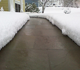 Heated paver sidewalk