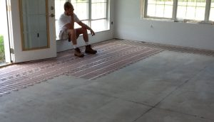 Floor heating system being installed