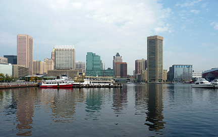 Inner Harbor waterfront view of Baltimore