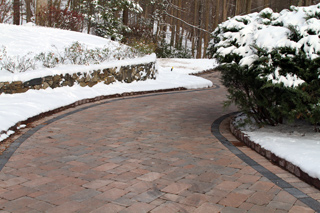 Heated driveway with brick pavers