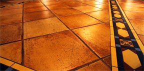 Radiant heated tile floor