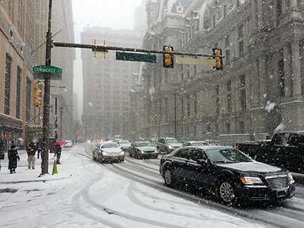 Snowstorm in downtown Philadelphia