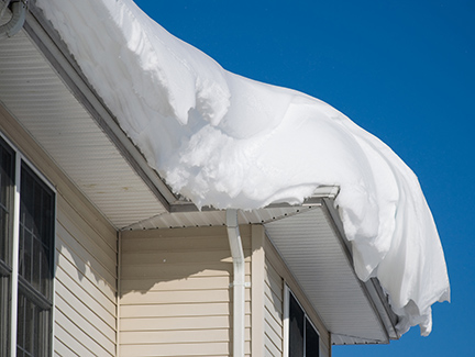 Heavy snow accumulation on roof