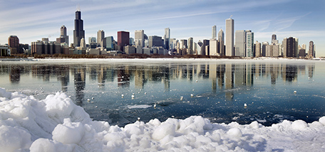 Panorama of Chicago during winter
