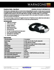 ClearZone snow melting heat cable data sheet.