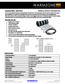 ClearZone snow melting mats data sheet.
