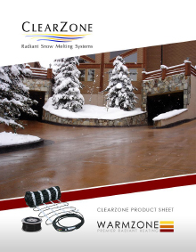 ClearZone snow melting system product sheet