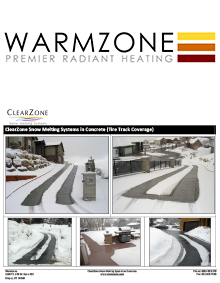 Photos of snow melting systems installed to heat concrete tire tracks.