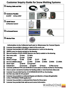 Customer inquiry guide for snow melting systems.