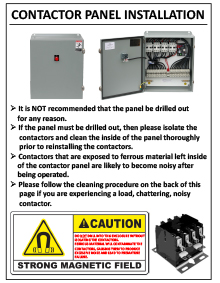 Snow melting system contactor panel installation insert