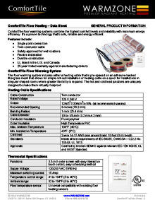 ComfortTile floor heating cable and mats data sheet.