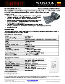 FloorHeat STEP floor heating system data sheet