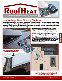 RoofHeat low-voltage roof deicing system product catalog breakout.