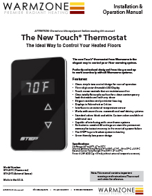Warmzone STEP Touch Thermostat Installation Guide