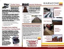 Warmzone tri-fold products and services brochure