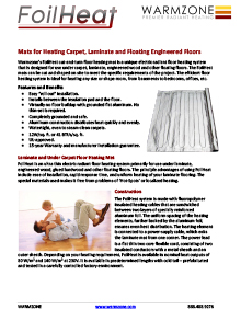 FoilHeat floor heating systems data sheet.