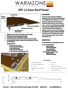 Data sheet for 12-inch heat trace roof heating panel