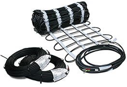 ClearZone heating cable in mat and rolled.