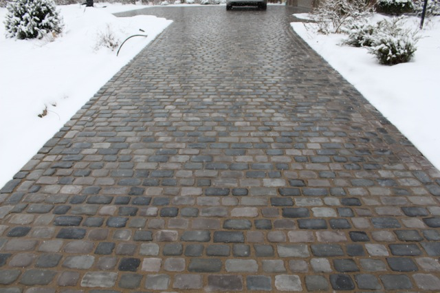 Driveway with heated pavers.