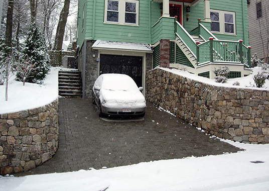 Heated paver driveway in operation.