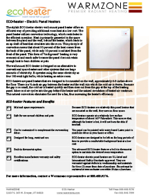 ECO-Heater Wall Mount Panel Heater Product Guide
