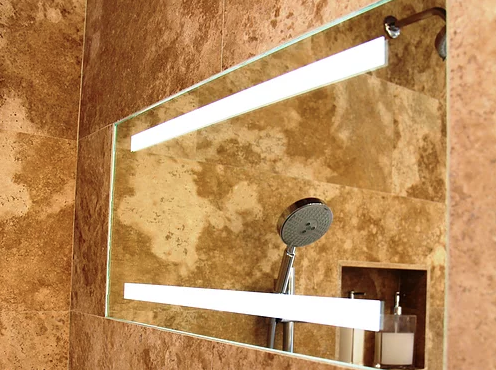 Fog-free shower mirror with LED lights