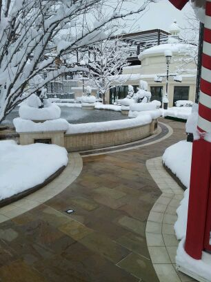 Heated pavers at outdoor mall.