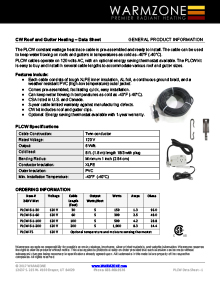 Warmzone constant wattage heat cable data sheet