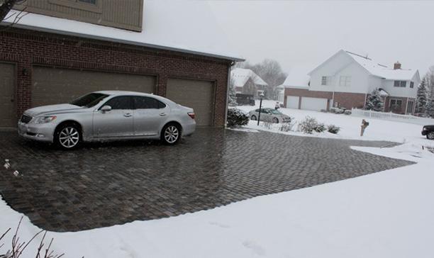 Heated paver driveway