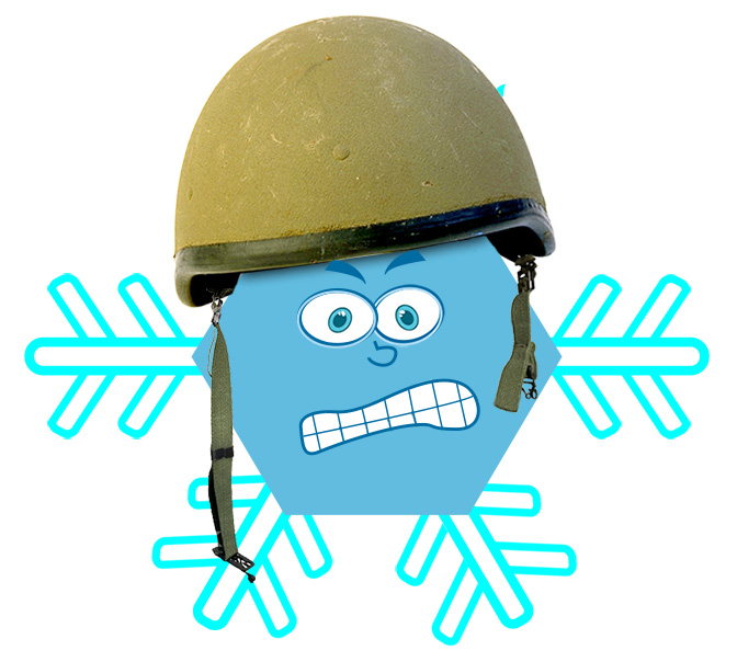 Cartoon army snowflake commander