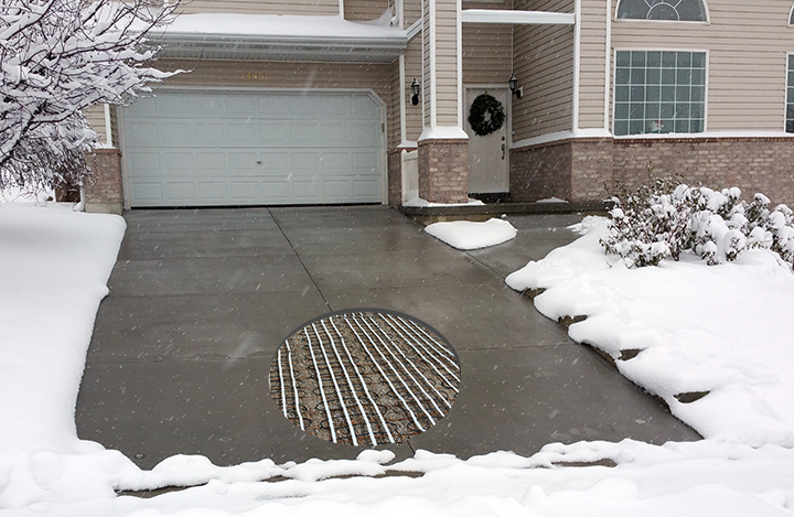 Heated driveway with cut out
